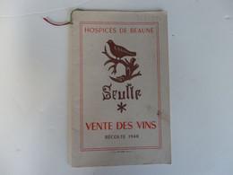 Fascicule De La Vente Des Vins Des Hospices De Beaune (21) De La Récolte De 1948. - Non Classés