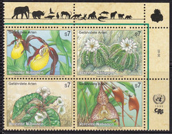 UNO-Wien 1996, 205/08  MNH **,  Gefährdete Arten (IV): Flora. - Nuevos
