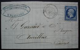 Issoire (Puy De Dôme) 1857 V. Mello Compagnie Des Caisses D'escompte, Timbre N°14 Pc 1558 - 1849-1876: Classic Period
