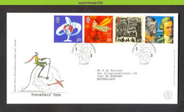 Nbd0431fb TRANSPORT FIETS VLIEGTUIG TRAVELLERS' TALE PLANE PLANET EARTH BICYCLE JAMES COOK GREAT BRITAIN 1999 FDC - Verkehr & Transport