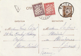 Carte Postale. Maroc. Protectorat. Interzones. Cachets 1942 Gironde Et Oujda. Timbre Pétain. Taxée. Triangle T. - Seconda Guerra Mondiale