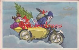 SANTA CLAUS AVEC MOTEUR ET SIDECAR - KERSTMAN MET MOTOR EN ZIJSPAN CPA Devil Diable Duivel Teufel - Santa Claus