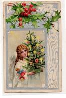 DC4532 - Schöne Prägekarte Weihnachten, Engel, Weihnachtsbaum - Otros