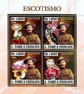 SAO TOME E PRINCIPE 2006 SHEET SCOUTS BADEN POWELL MUSHROOMS ORCHIDS OWLS HIBOUX CHAMPIGNONS MINERALS GOLD St6406a - Sao Tome En Principe