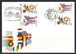 Espagne Yv 2445-2447-Portugal Yv 1654/5 Sur F.D.C. émission Commune C.E.- C.E.E. - Emissioni Congiunte