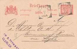 Nederlands Indië - 1904 - 5 Cent Cijfer, Briefkaart G14 Van VK Olehleh Naar Segli - Indes Néerlandaises