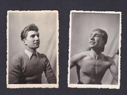 Photo Originale Lot De 2 Jeune Homme ( Cf Nom Au Verso ) ( Torse Nu Garcon 43825) - Personas Identificadas
