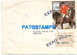 145125 PARAGUAY COVER CANCEL STAMPS OLYMPIAD SPAIN EXPO YEAR 1991 REGISTERED CIRCULATED TO ASUNCION NO POSTAL POSTCARD - Paraguay