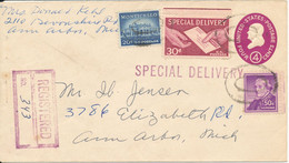 USA Registered Uprated Postal Stationery Cover Special Delivery 10-1-1962 - 1961-80