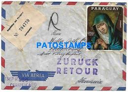 145128 PARAGUAY ASUNCION COVER REGISTERED AEROPOSTAL YEAR 1971 CIRCULATED TO GERMANY NO POSTAL POSTCARD - Paraguay