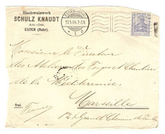 DEVANT DE LETTRE ESSEN 1904 BLECHWALZWERK SCHULZ KNAUDT ESSEN → FORGES MARSEILLE FRANCE - Brieven En Documenten