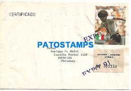 145131 PARAGUAY ASUNCION COVER CANCEL REGISTERED EXPO YEAR 1991 STAMPS MARADONA SOCCER NO POSTAL POSTCARD - Paraguay