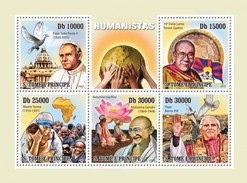 SAO TOME E PRINCIPE 2010 SHEET HUMANISTS DALAI LAMA MAHATMA GANDHI POPE JOHN PAUL II BENEDICT MOTHER TERESA St10111a - Sao Tome And Principe