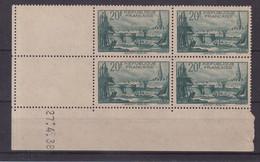 FRANCE : N° 394 ** . BLOC DE 4 . COIN DATE . TB . 1938 . ( CATALOGUE YVERT ) . - 1930-1939