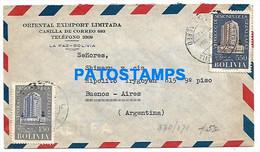 145158 BOLIVIA LA PAZ COVER CANCEL YEAR 1957 CIRCULATED TO ARGENTINA NO POSTAL POSTCARD - Bolivia