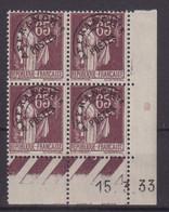 FRANCE : PREO . N° 73 ** . BLOC DE 4 . COIN DATE . TB .  1933 . ( CATALOGUE YVERT ) . - Prematasellados