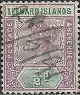 LEEWARDS ISLANDS 1890 Queen Victoria - 1/2 D - Mauve And Green PEN CANCELLATION - Leeward  Islands