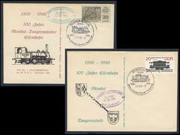 DDR Germany 1986 2x Brief Cover - 100 Jahre Eisenbahn Stendal - Tangermünde 1886 - DMV Sonderfahrt / Railway - Trains