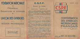 NICE . CARTE FEDE NATIONALE HOTELLERIE. RESTAURATION . 1938 .HABITANT A BEAULIEU - Historische Documenten