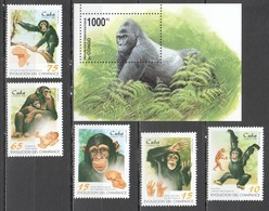 M1111 1998 CONGO CUBA  ANIMALS CHIMPANZEES GORILLAS 1SET+1BL MNH - Apen