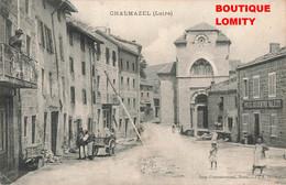 42 Chalmazel Place Eglise Hotel Du Centre Valezy Cpa Carte Animée Attelage Cachet 1911 - Andere Gemeenten