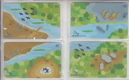 BRASIL 2003 WATERING BIRDS ZEBRA GIRAFFE LION HIPPOPOTAMUS BEAR ELEPHANT PUZZLE OF 4 CARDS - Puzzles