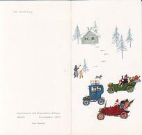 CPA CELEBRATIONS, CHRISTMAS, SANTA CLAUS, VINTAGE CARS,2 PARTS FOLDED - Santa Claus