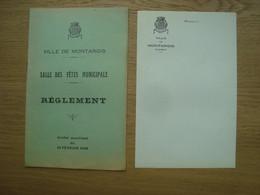 REGLEMENT SALLE DES FETES MUNICIPALE VILLE DE MONTARGIS 1926 + LETTRE - Programmes