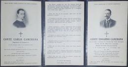Biglietto Commemorativo - Conti Carlo E Edoardo Camerana - 1914 - Vecchi Documenti