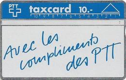 Switzerland - Swisscom (L&G) - V Cards - V-11 - Avec Les Compliments - 104F - 04.1991, 10Fr, 20.000ex, Used - Schweiz