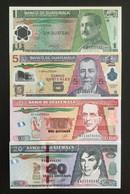 GUATEMALA SET 1 5 10 20 QUATZALES BANKNOTES 2006-2013 UNC - Guatemala
