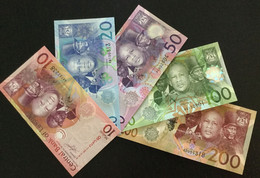 LESOTHO SET 10 20 50 100 200 MALOTI BANKNOTES 2010-2015 UNC - Lesotho