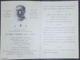Biglietto Commemorativo Sottotenente Cavalleria Vitt. Federici Della Costa 1923 - Vecchi Documenti