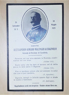 Biglietto Commemorativo - Conte Alessandro Malingri Di Bagnolo Generale - 1928 - Vecchi Documenti