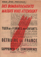 TRACT ANTI ALLIES DES BOMBARDEMENTS MASSIFS VOUS ATTENDENT PROPAGANDE ETAT FRANCAIS VICHY - 1939-45