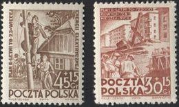 1952 Poland Mi 755-56 Building, Electrification, Industrialization, Urbanization, Work MNH** - Ongebruikt