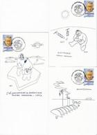 France Marcophilie Lot De 3 Cartes Oblitérations 1er Jour 16.09.2000 St Grégoire 35 - Timbre 3345 Paul Emile Victor - Gedenkstempel