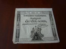 ASSIGNAT DES DOMAINES NATIONAUX ASSIGNAT DE DIX SOUS 23 MAI 1793  SERIE 53 SIGNE GUYON - Assignats