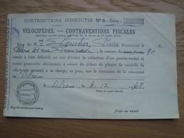 CONTRAVENTION FISCALE VELOCIPEDES ORLEANS - Vecchi Documenti