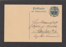 GANZSACHE AUS KOWNO (KAUNAS,LITAUEN).DOPPELKARTE MIT ANTWORT. - Occupation 1914-18