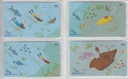 BRASIL 2003 DEEP SEA DIVING MANTA RAY SWORDFISH CRAB SUBMARINE OCTOPUS PUZZLE OF 4 CARDS - Puzzles