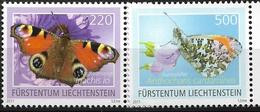 2011 Liechtenstein  Mi.  1592-3**MNH    Schmetterlinge Tagpfauenauge (Aglais Io) Aurorafalter (Anthocharis Cardamines) - Ongebruikt
