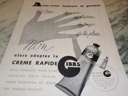 ANCIENNE PUBLICITE CREME RAPIDE DE GIBBS 1941 - Pubblicitari