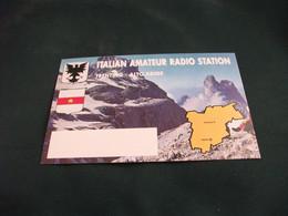 CARTA QLS ITALIAN AMATEUR RADIO STATION  TRENTINO ALTO ADIGE VISIONE AEREA DOLOMITI  STEMMA - Radio Amatoriale