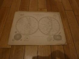 PLANISPHERE CELESTE  GRAVE PAR JENOTTE  EUGENE BELIN 1864 33,5cm/25,5cm - Carte Geographique