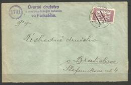 CZECH / SLOVAKIA. 1935. COVER. KERESTUR POSTMARK. UVERNE CO-OPERATIVE FARKASINE. - Covers & Documents