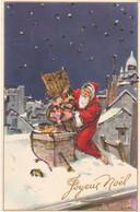 """CARTE FANTAISIE . CPA. PAILLETTES. ILLUSTRATION SIGNEE LAM ."""" JOYEUX NOEL """". LE PERE NOEL AU TRAVAIL + TEXTE - Santa Claus"""