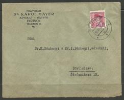 CZECH / SLOVAKIA. 1935. COVER. PEZINOK POSTMARK. DR KAROL MAYER – LEGAL ADVISER. - Covers & Documents