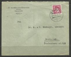 CZECHOSLOVAKIA. 1939. COVER. MALACKY POSTMARK. DR EUGEN LICHTENSTEIN – LAWYER. - Covers & Documents