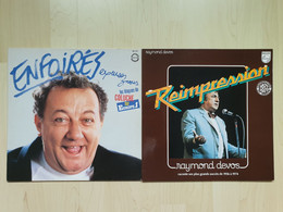 2 Albums 33 Tours Vinyle Coluche Et Raymond Devos - Sonstige